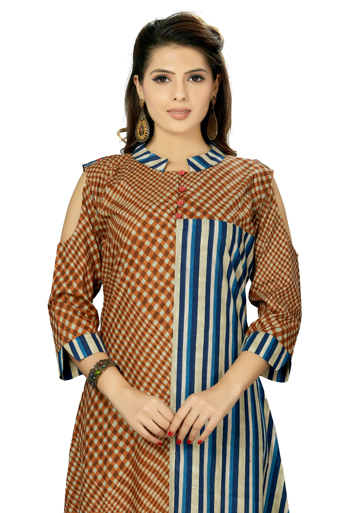 shoulder cut sleeves kurti