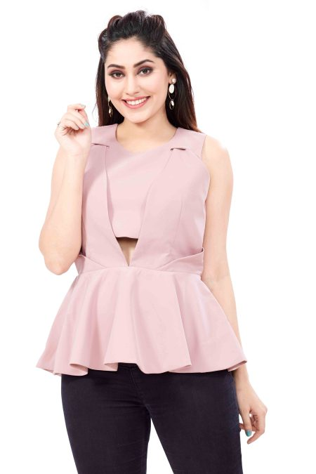 pink colour peplum top